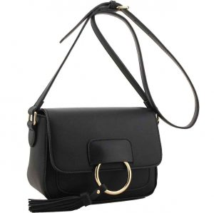 H1654 black ring flap handbag