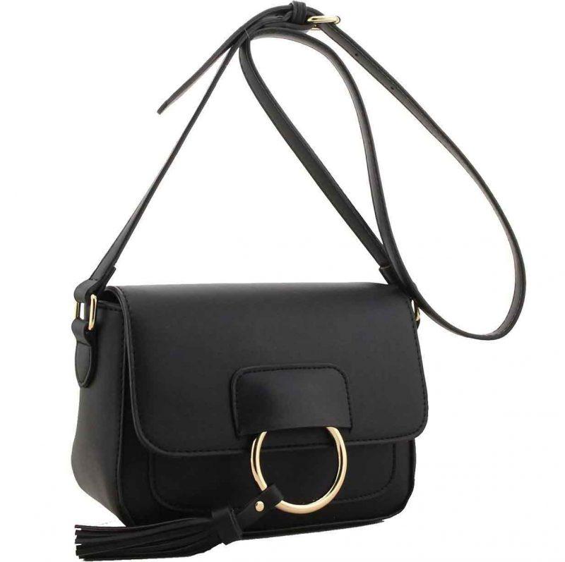H1654 black ring flap handbag