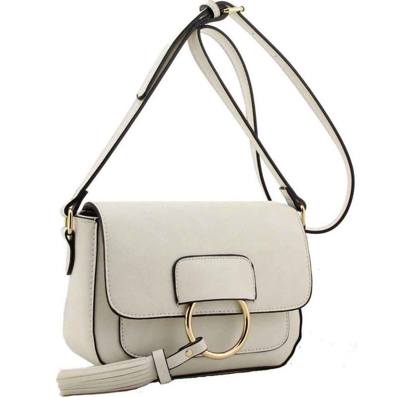 H1654 white ring flap handbag