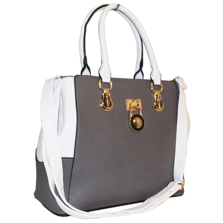 4180b7e925aa Grey Padlock Handbag ~ Structured Handbag ~ bagzone.co.uk