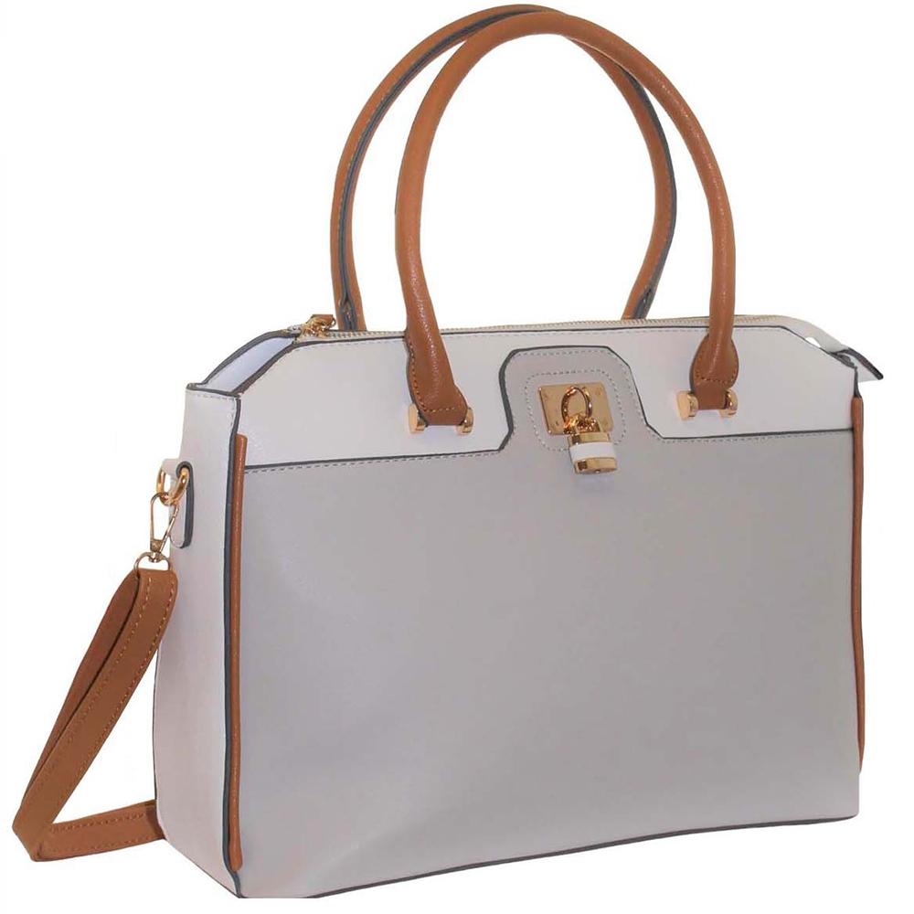 68ed1ee6ccb5 Grey Padlock Bag ~ Structured Handbag ~ bagzone.co.uk