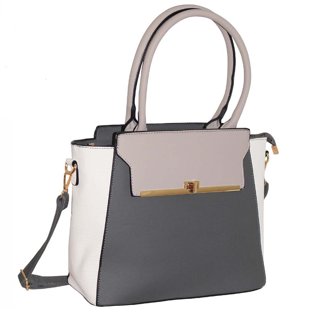 eb7dc70a8e7b Grey Twist Lock Handbag ~ Structured Handbag ~ bagzone.co.uk