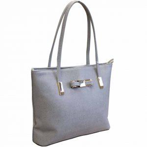 grey bow tote handbag