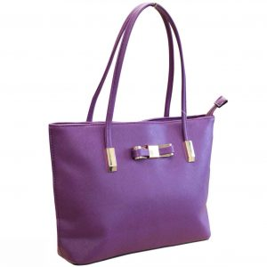plum tote bag with bow