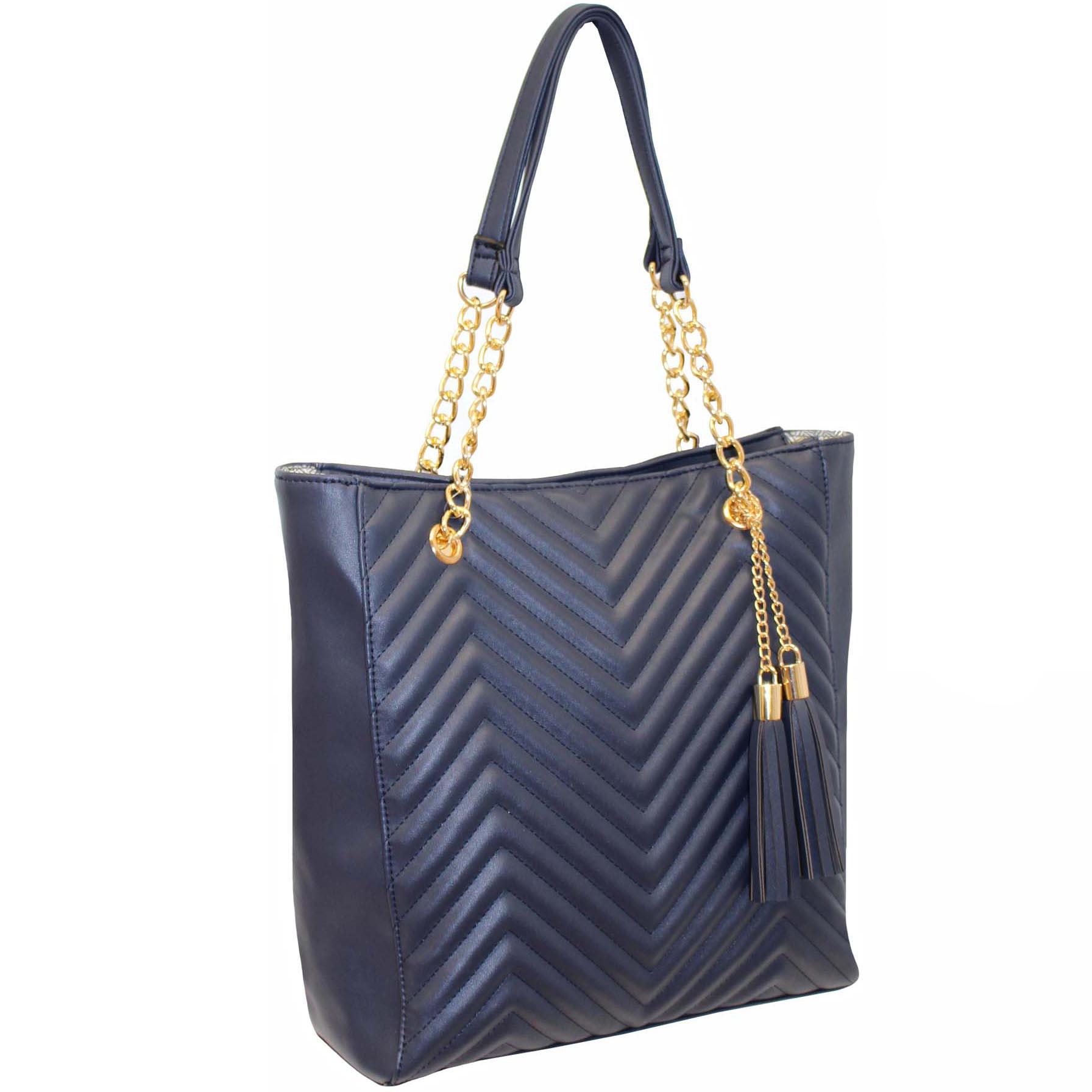 267 Navy - Zip Top Quilted Handbag ~ BAGZONE