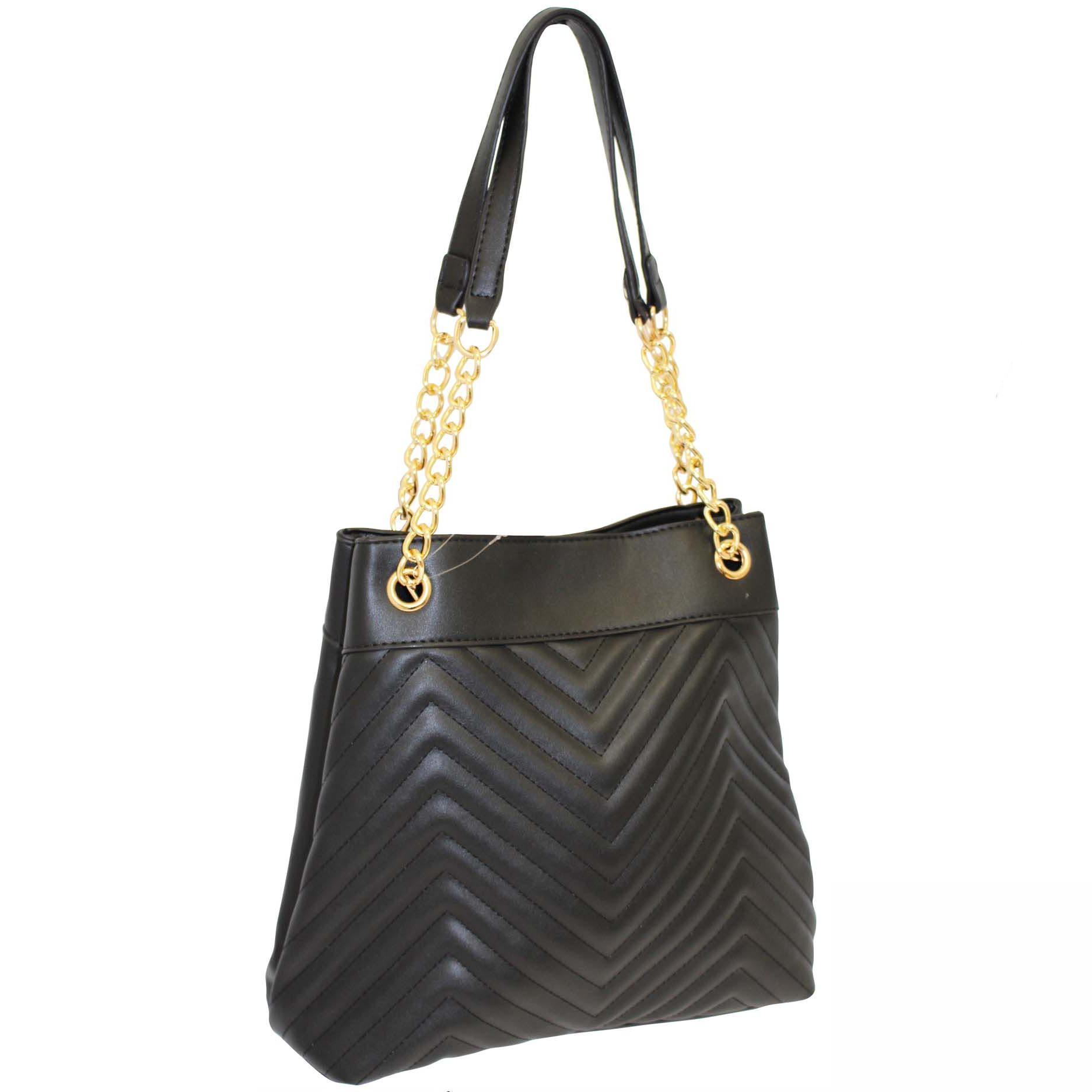 269 Black - Zip Top Quilted Handbag ~ BAGZONE