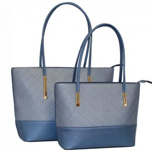 blue tote handbag set of 2