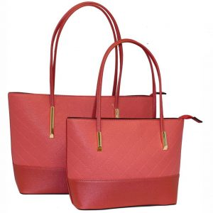 coral tote bag set of 2