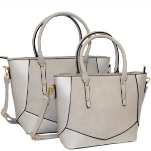 silver tote bag set of 2