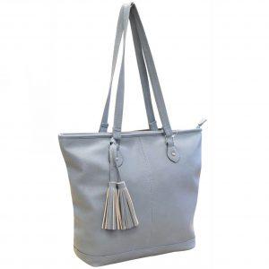 blue tote handbag