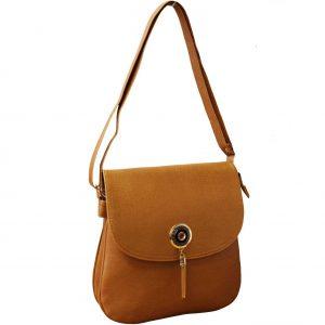 Tan flap over bag