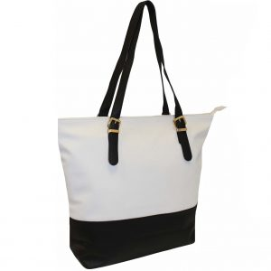 black zip top tote