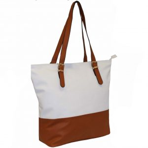 tan zip top tote