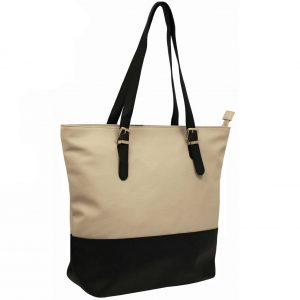 Champagne zip top tote