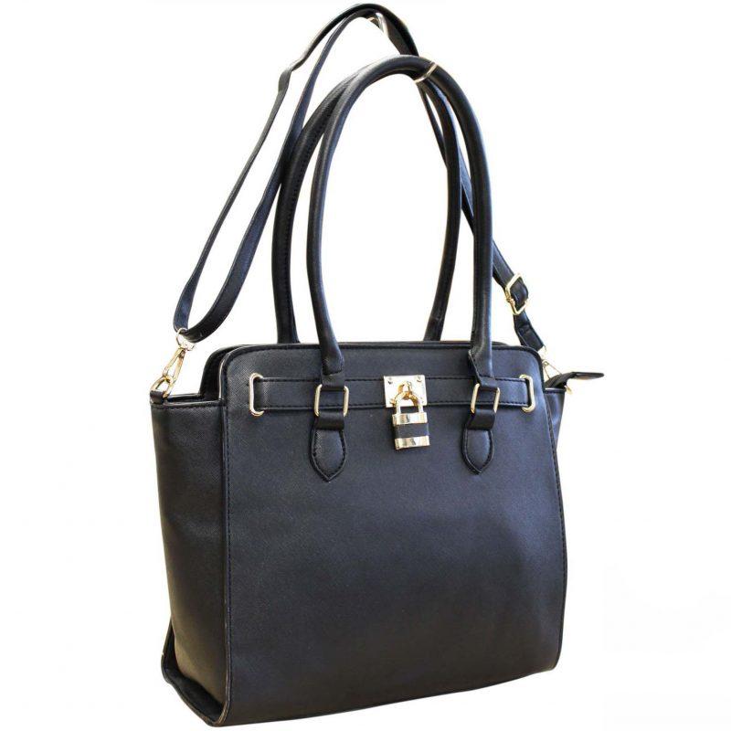 black padlock handbag