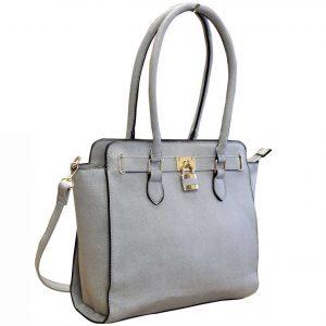 grey padlock handbag