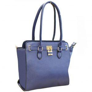 Navy Padlock Handbag