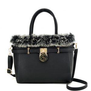 Black fur trim handbag