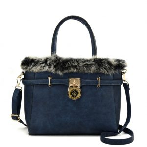 navy fur trim handbag