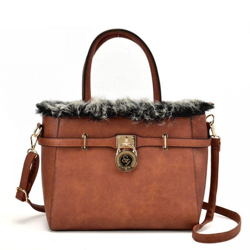 tan fur trim handbag