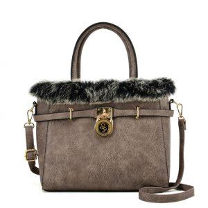 Grey fur trim handbag