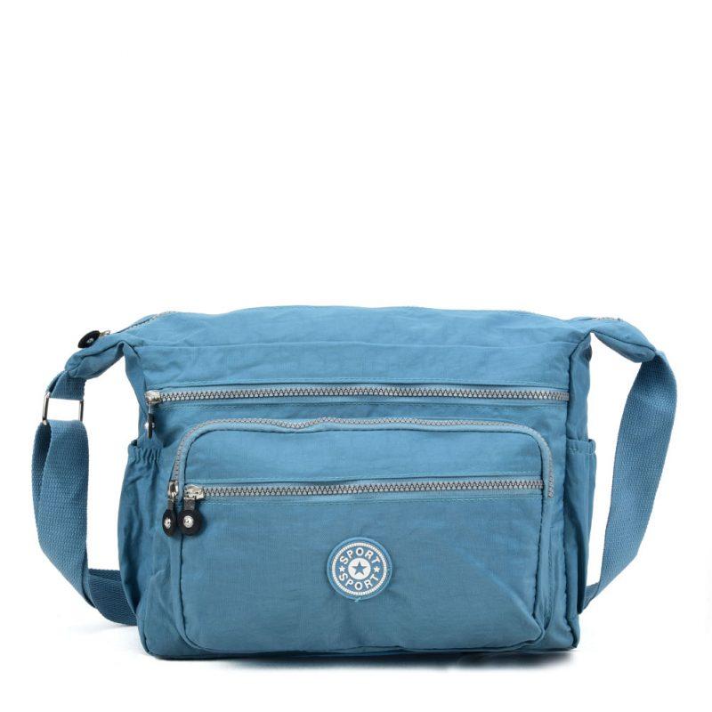 blue crushed nylon bag