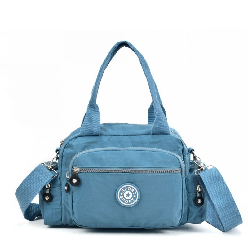 blue crushed nylon handbag