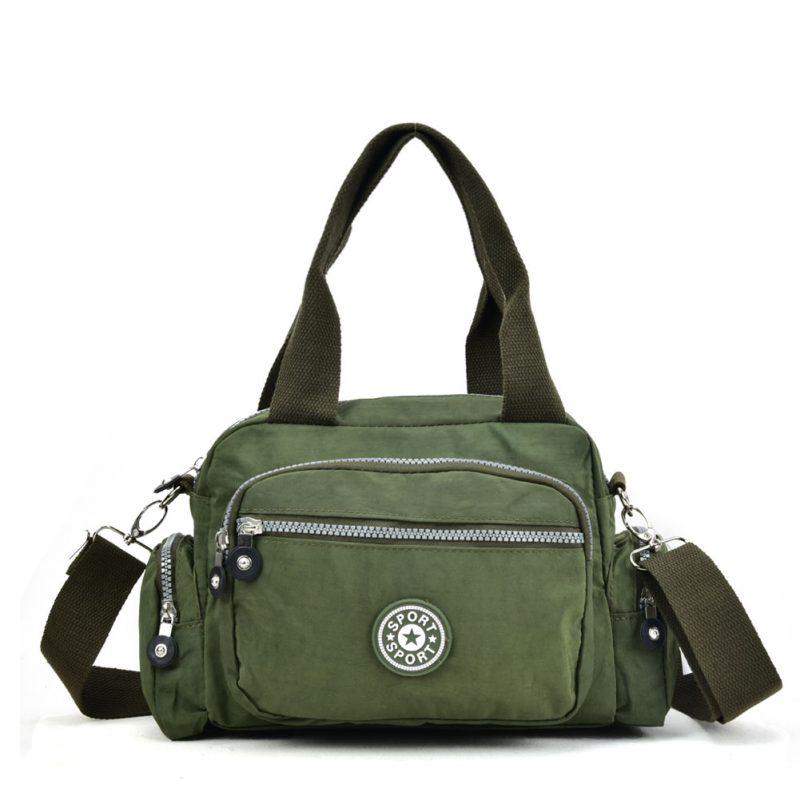 Olive crushed nylon handbag