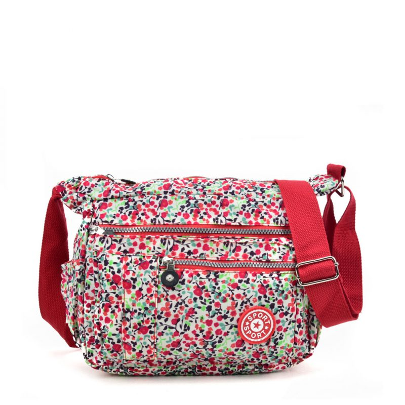 floral crushed nylon bag