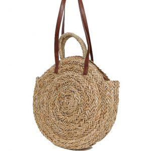round straw beach tote