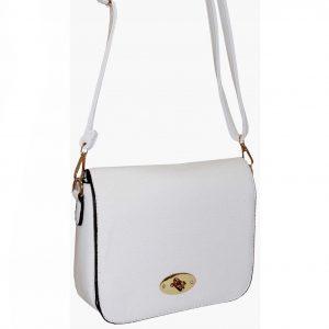 white flap over handbag