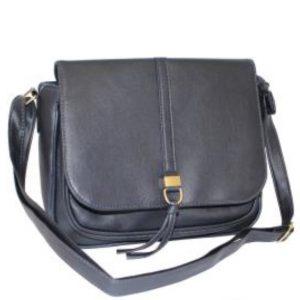 navy flap over handbag