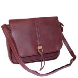 Wine Flap Over Handbag