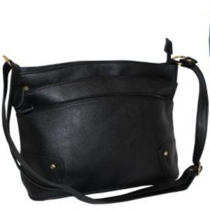 black zip pocket handbag