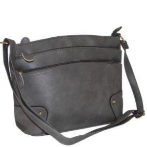 grey zip pocket handbag