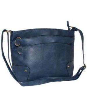 navy zip pocket handbag