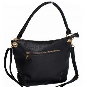 black metal zip pocket handbag
