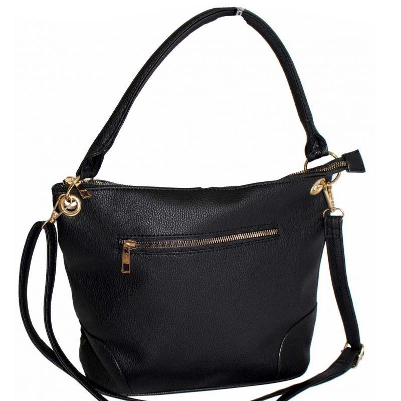 black metal zip pocket handbag
