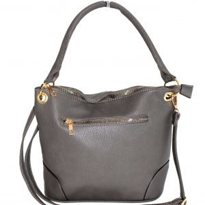grey metal zip pocket handbag