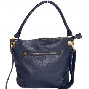 navy metal zip pocket handbag