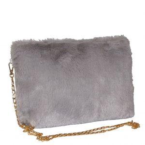 grey animal fur bag