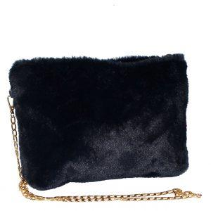 navy animal fur bag