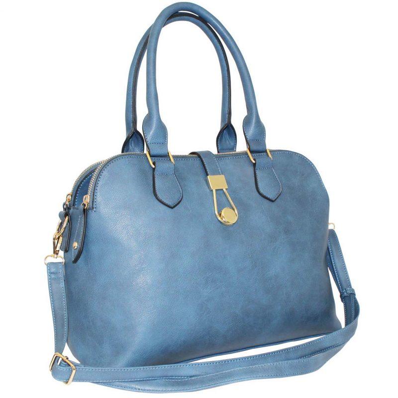 blue twin handle shoulder bag